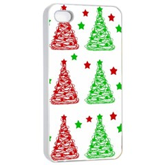 Decorative Christmas Trees Pattern   White Apple Iphone 4/4s Seamless Case (white) by Valentinaart