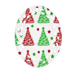 Decorative Christmas Trees Pattern   White Oval Filigree Ornament (2 Side)  by Valentinaart