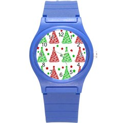 Decorative Christmas Trees Pattern   White Round Plastic Sport Watch (s) by Valentinaart