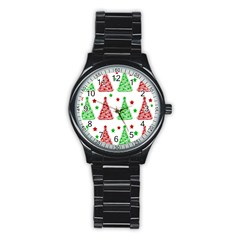 Decorative Christmas Trees Pattern   White Stainless Steel Round Watch by Valentinaart