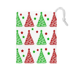 Decorative Christmas Trees Pattern   White Drawstring Pouches (large)  by Valentinaart