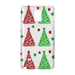Decorative Christmas Trees Pattern   White Samsung Galaxy Note 4 Hardshell Case by Valentinaart