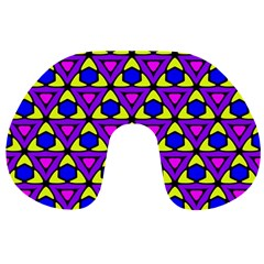 Triangles And Honeycombs Pattern                                                                                                   Travel Neck Pillow by LalyLauraFLM