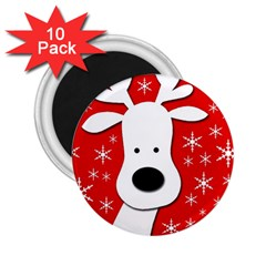 Christmas Reindeer   Red 2 25  Magnets (10 Pack)  by Valentinaart