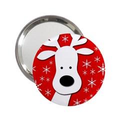 Christmas Reindeer   Red 2 25  Handbag Mirrors by Valentinaart