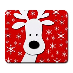 Christmas Reindeer   Red Large Mousepads by Valentinaart
