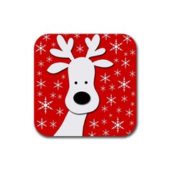 Christmas Reindeer   Red Rubber Square Coaster (4 Pack)  by Valentinaart