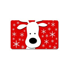 Christmas Reindeer   Red Magnet (name Card) by Valentinaart