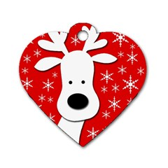 Christmas Reindeer   Red Dog Tag Heart (one Side) by Valentinaart