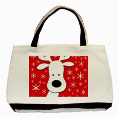 Christmas Reindeer   Red Basic Tote Bag (two Sides) by Valentinaart