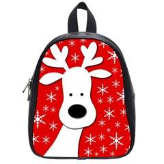 Christmas Reindeer   Red School Bags (small)  by Valentinaart