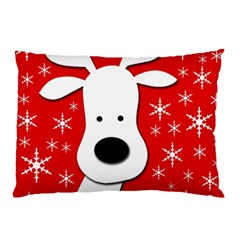 Christmas Reindeer   Red Pillow Case (two Sides) by Valentinaart