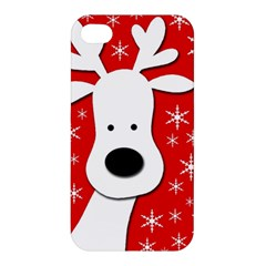 Christmas Reindeer   Red Apple Iphone 4/4s Hardshell Case by Valentinaart