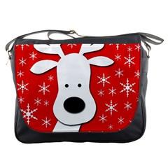 Christmas Reindeer   Red Messenger Bags by Valentinaart