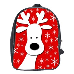Christmas Reindeer   Red School Bags (xl)  by Valentinaart