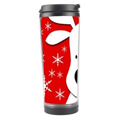 Christmas Reindeer   Red Travel Tumbler by Valentinaart