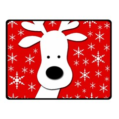Christmas Reindeer   Red Double Sided Fleece Blanket (small)  by Valentinaart