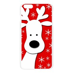Christmas reindeer - red Apple Seamless iPhone 6 Plus/6S Plus Case (Transparent) by Valentinaart
