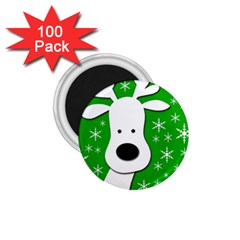 Christmas Reindeer   Green 1 75  Magnets (100 Pack)  by Valentinaart