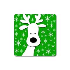 Christmas Reindeer   Green Square Magnet by Valentinaart