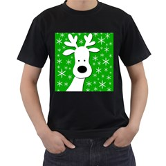 Christmas Reindeer   Green Men s T Shirt (black) (two Sided) by Valentinaart