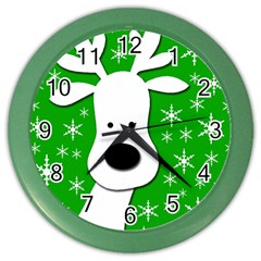 Christmas Reindeer   Green Color Wall Clocks by Valentinaart