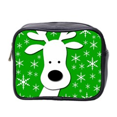 Christmas Reindeer   Green Mini Toiletries Bag 2 Side by Valentinaart