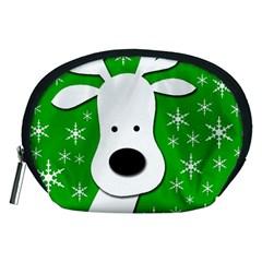 Christmas reindeer - green Accessory Pouches (Medium)  by Valentinaart