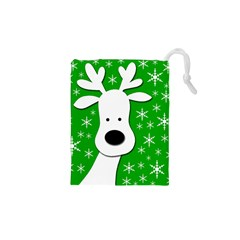 Christmas Reindeer   Green Drawstring Pouches (xs)  by Valentinaart
