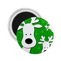 Christmas reindeer - green 2 2.25  Magnets by Valentinaart