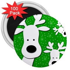 Christmas Reindeer   Green 2 3  Magnets (100 Pack) by Valentinaart