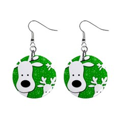 Christmas Reindeer   Green 2 Mini Button Earrings by Valentinaart