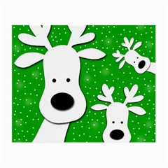 Christmas Reindeer   Green 2 Small Glasses Cloth by Valentinaart