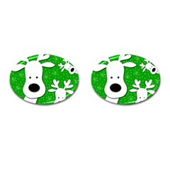 Christmas Reindeer   Green 2 Cufflinks (oval) by Valentinaart