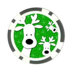 Christmas Reindeer   Green 2 Poker Chip Card Guards by Valentinaart