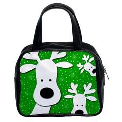Christmas Reindeer   Green 2 Classic Handbags (2 Sides) by Valentinaart