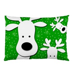 Christmas Reindeer   Green 2 Pillow Case by Valentinaart