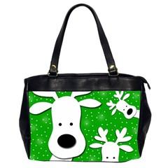 Christmas Reindeer   Green 2 Office Handbags (2 Sides)  by Valentinaart