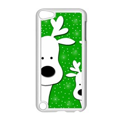 Christmas Reindeer   Green 2 Apple Ipod Touch 5 Case (white) by Valentinaart