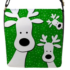 Christmas Reindeer   Green 2 Flap Messenger Bag (s) by Valentinaart