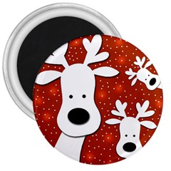 Christmas Reindeer   Red 2 3  Magnets by Valentinaart