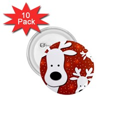 Christmas Reindeer   Red 2 1 75  Buttons (10 Pack) by Valentinaart