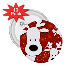 Christmas Reindeer   Red 2 2 25  Buttons (10 Pack)  by Valentinaart