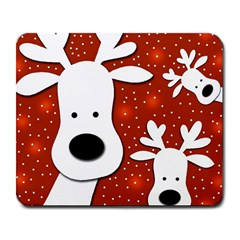 Christmas Reindeer   Red 2 Large Mousepads by Valentinaart