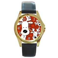 Christmas Reindeer   Red 2 Round Gold Metal Watch by Valentinaart