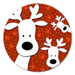 Christmas Reindeer   Red 2 Magnet 5  (round) by Valentinaart