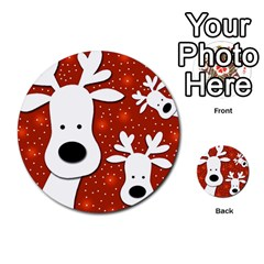 Christmas Reindeer   Red 2 Multi Purpose Cards (round)  by Valentinaart