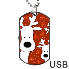 Christmas Reindeer   Red 2 Dog Tag Usb Flash (one Side) by Valentinaart