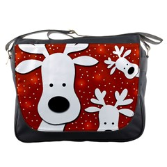 Christmas Reindeer   Red 2 Messenger Bags by Valentinaart