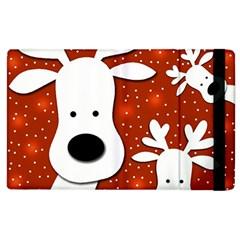 Christmas Reindeer   Red 2 Apple Ipad 3/4 Flip Case by Valentinaart